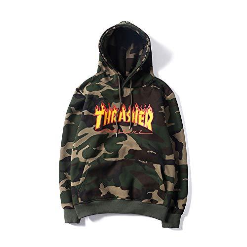 ZALA Thrasher Flame Logo Pullover Sudadera, Hood con Estampado de Camuflaje con Capucha Casual Plus Suéter de Terciopelo-Apto para Hombres y Mujeres (M)