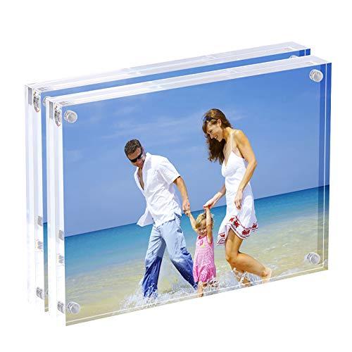 AMEITECH Cornici in Acrilico, Set di lastre bifacciali Trasparenti da 10 x 15 cm, Cornice Magnetica da Tavolo Senza Cornice - Confezione da 2