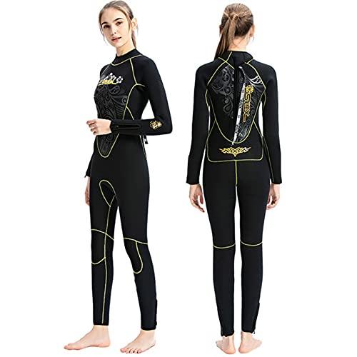 ZFFLYH Traje de neopreno para mujer de 5 mm, traje de buceo de cuerpo completo, una pieza para mujer, snorkel, buceo, natación, color negro, L