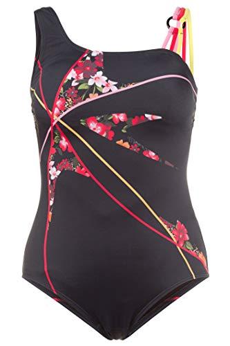 GINA LAURA Damen bis Größe | Badeanzug | Bodyforming | Soft-Cups, Unterbrustband | Blumenmuster | Farbige Träger | schwarz 40 709419 10-40