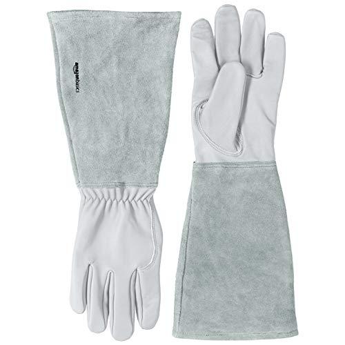 Amazon Basics – Gartenhandschuhe mit Unterarmschutz, Leder, Gr. L, naturbelassen