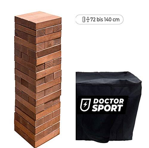 Dr. Sport Dunkler Wackelturm XXL - Höhe bis 140 cm - in Einer Trageasche mit Reißverschluss - Indoor und Outdoor Stapelturm Holz