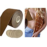 Yalzone DIY Breast Lift Tape Cotton Breast Tape Breast Covers for Backless Dress Deep v Backless Bra 5cm x 5m Body Tape with 10 pcs Round Nipple Cover (Brown color)