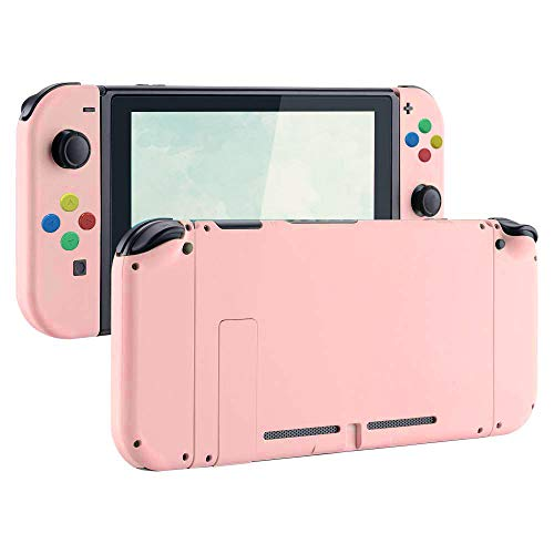eXtremeBee Soft Touch Grip Back Plate for Nintendo Switch Console, NS Joycon Handheld Controller Housing with Colored Buttons, DIY Replacement Shell Case for Nintendo Switch Joy-Con (L/R) (Pink)