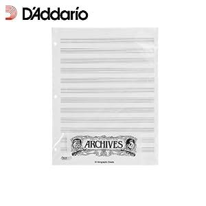 D'Addario X12S gelochte Notenblaetter, 50 Blatt, 12 Notenbalken