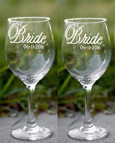 Lesbian Wedding Glasses in Script Font with Wedding Date, Hand Engraved, Set of 2 - Choose from Wine, Pilsner, Pint or Whisky Glasses - Script Font