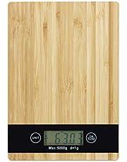 Digital köksvåg bambu, LCD-display, touch, tara-funktion, bärkraft 5 kg, digitalvåg, BxT: 23 x 16 cm, natur