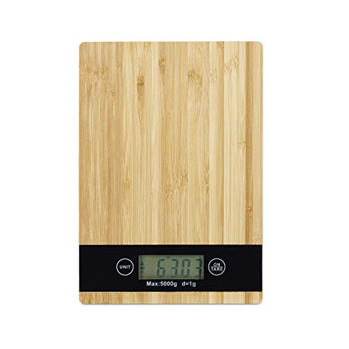 Relaxdays Balance Electronique, Bambou, Digitale, Numérique, Cuisine, Charge max. 5 kg, Tare, L x P 23 x 16 cm, nature