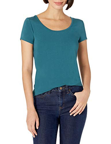 Amazon Brand - Daily Ritual Women's Jersey Short-Sleeve Scoop-Neck Longline T-Shirt, Teal, X-Small