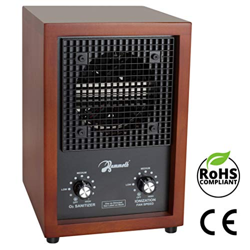 Mammoth Ion and Ozone Generator for Home Use, Adjustable 46.3ft³/h Ion and 3,000mg/h Ozone Output (Cherry Wood)