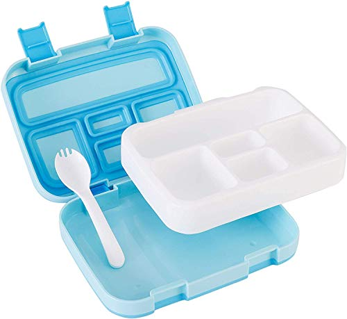 Kids Bento Lunch Box with Spork - Removable Microwave and Dishwasher Friendly Tray - Durable Leak-Proof with Toddler-Friendly Latches for Easy Access - 5 Compartments for On the Go Meal Snack Packing