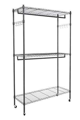 Modrine Garment Rolling Rack 3-Tiers Heavy Duty Wire Shelving with Lockable Wheels 2 Side Hooks and 2 Clothes Rods Gray