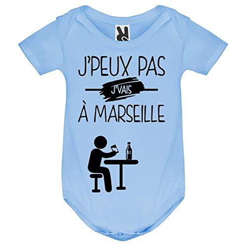 LookMyKase Body bébé - J Peux Pas j Vais a Marseille - Bébé Garçon - Bleu - 12MOIS