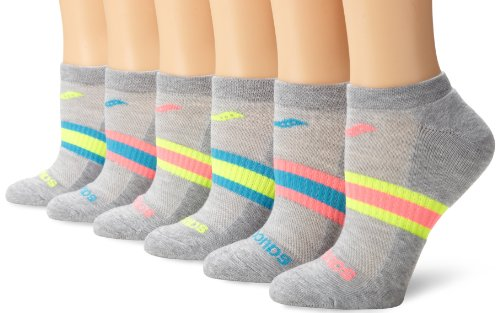 Saucony Women's 6-Pack Performance No Show Socks, Grey Assorted, Shoe Size: 5-10, sock size 9-11