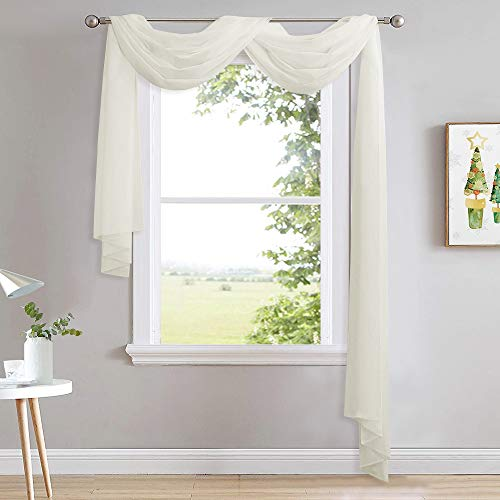 NICETOWN Sheer Bed Canopy Scarf Valances 216 Long - Home Decoration Voile Scarf Valance Topper for Wedding, Party, Venue, Celebration Decoration, DIY (1 Piece, W60 x L216, Off White)
