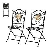 RELAX4LIFE 2er Mosaikstühle, Klappbare Stühle Mosaik, Gartenstuhl mit Rückenlehne, Balkonstuhl mit atmungsaktiver Sitzfläche, modernes Klappstuhl für Garten & Balkon & Terrasse, Bistrostuhl Vintage