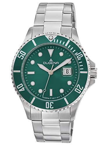Dugena Herren Quarz Armbanduhr Diver XL mit Edelstahlband Grün/Silberfarben 4461004