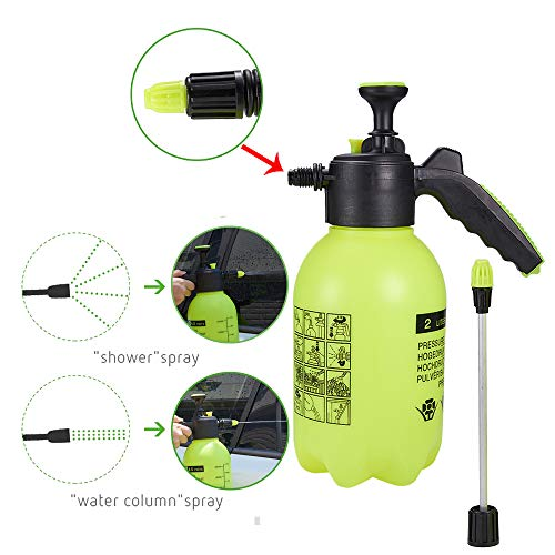 Jscarlife 2L Green Pressure Sprayer Hand Held Garden Sprayer with Adjustable Nozzle, Use with Water or Soluble Products for Car washing and Home Cleaning