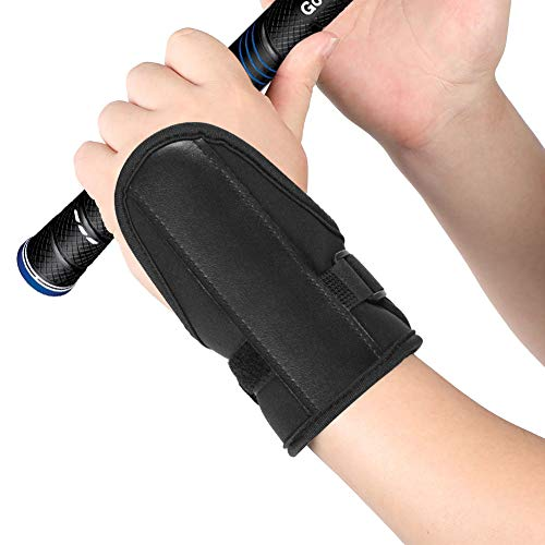 Wchiuoe Golf Swing Trainer Wrist Brace, Swing Protector Corrector Arm Band Training Aid for Golf Beginners (Black)
