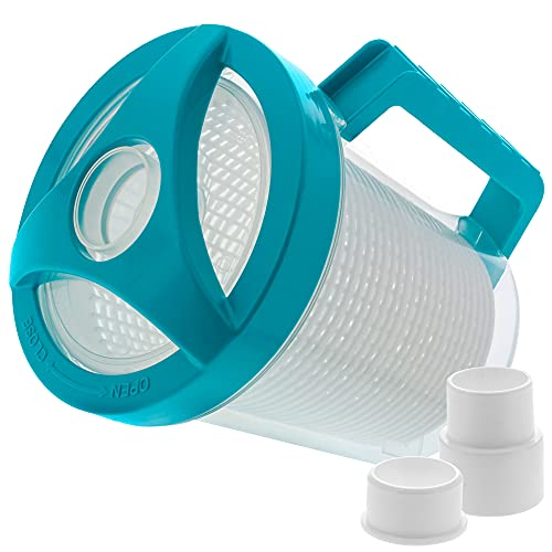 U.S. Pool Supply Professional in-line Pool Leaf Canister with Plastic Mesh Basket - Skims Leaves, Debris - Fits Suction & Automatic Pool Cleaners
