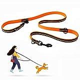 Petcomer Correa para Perros Ajustable 7 en 1 Multifunción Cuerda Nylon Reflectante Doble Correa para Correr Entrenamiento(L Naranja)