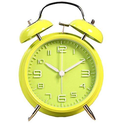 Moderne Wecker 4 'Vintage Glocke Wecker Tinkerbell Wecker mit Hintergrundbeleuchtung für Schlafzimmer Tisch Dekoration Batteriebetriebene Reise Lauter Wecker Mini Uhr für Schlafzimmer (Farbe: Gelb)