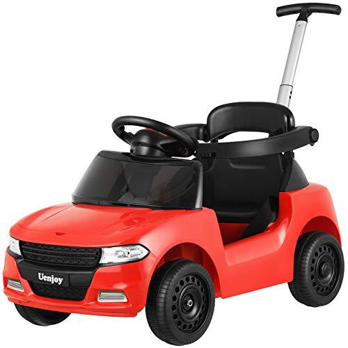 Uenjoy 3 in 1 Baby Push Auto, Laufstuhl & Kinderwagen, für 10-36 Monate Jungen & Mädchen, mit Verstellbarer Stößelstange, abnehmbarem Zaun, Stauraum, Musik, Sicherheitsgurt, Rot