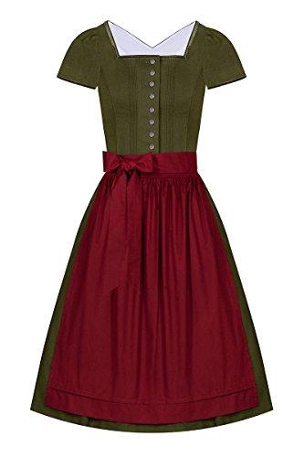 Wenger Austria Moser Trachten Baumwolle Midi Dirndl 65er Oliv rot Cornelia 004365, Rocklänge: ca. 65 cm, mit Knopfleiste, Größe 36