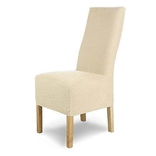 SCHEFFLER-Home Stretch Stuhlhusse Luna-Lang | 6er Set elastische Flanell Stuhlabdeckungen | Stuhlhussen Schwingstühle | Spannbezug mit Gummiband | Elegante Stuhlbezüge