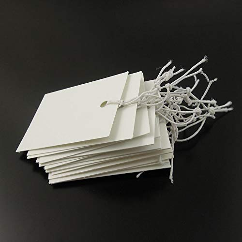 Julie Wang 1000pcs per Packs Price Tags Marking Labels Display Hang Tags with Elastic String, 40mm by 30 mm
