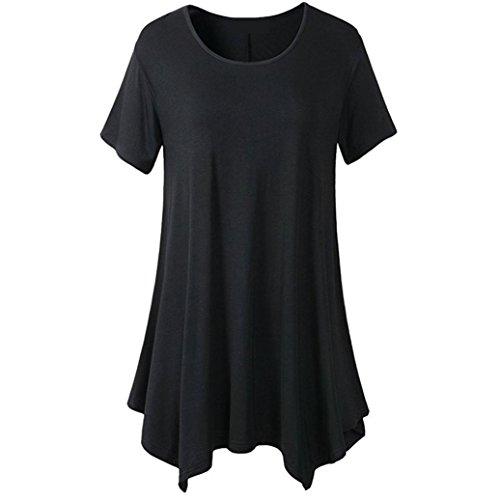 OVERDOSE Damen Sommer Solide Kurzarm Casual T-Shirt Oberteile Bluse Frauen O-Ansatz unregelmäßiger Rand Lose Beiläufige Tops(Schwarz,46 DE/XXL CN)