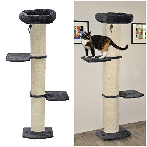 nanook Stella Stabiler Wandkratzbaum für Katzen, platzsparende Sisal-Kratzbaum mit Sitzplatten und Katzenbett, Katzenmöbel mit Kratzmatte, Höhe 186 cm