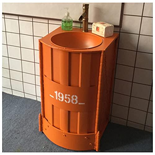 Industriell underdel med tvättställ, badrum Tvättställsgolv Golvstående handfat Badrumsskåp med kran och avlopp Badrumshandfat Skåp 20,8 x 18,8 x 33,4 tum,Orange,Without mirror