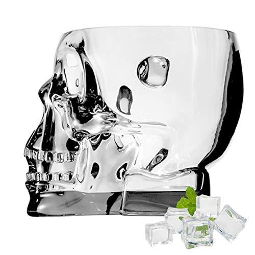 SYSP Cubo de Hielo acrílico, Cubo de Calavera para contenedor de Vino Helado, Cubo de Bebidas Transparentes con Asas, Cubo de Hielo de Cristal para Fiesta de Bar,Clear