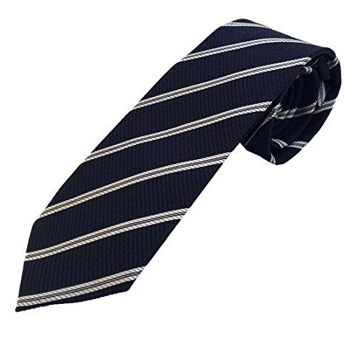 Corbata azul rayas gris - corbatas de hombre fabricadas artesanal - 100% seda - Pietro Baldini