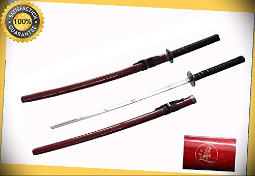 40 1/2'' Reverse Blade Red Samurai Sword perfect for cosplay outdoor camping