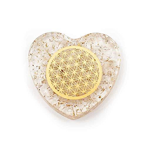 Orgonit Herz Bergkristall mit Kupferen Lebensblume