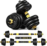 ER KANG Adjustable Fitness Dumbbells Set, 44lbs Free Weights Dumbbells with 19.7 Connecting Rod Used As Barbell for Home Gym, Workout, Whole Body Training, 2 Pieces/Set