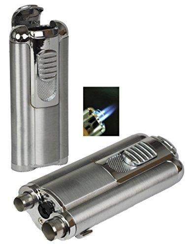 Tycoon Oscar Doppel-Jet Zigarren Feuerzeug chrom-satin Zigarrenbohrer inkl. Lifestyle-Ambiente Tastingbogen