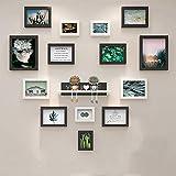 Marco de Fotos Decoración de Pared Álbum de Fotos Pared de Fondo 14 Marcos Combinación, Material de Madera Maciza, sin Perforaciones, núcleo de Pintura de Alta definición, tamaño: 129CMX112CM, Negro