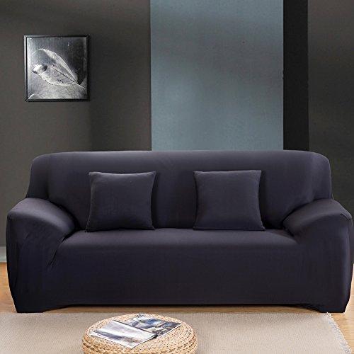 Sofa Bezug 1234-Sitzer-Stoffüberwurf, Schonbezug, elastischer Überwurf für Sofa, Sessel, Couch zum Schutz, Farbe: pure, schwarz, 3 Seater:190-230cm