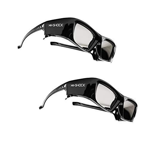 "2x Hi-SHOCK® 3D-BT Pro ""Black Diamond"" | Gafas 3D inteligentes para 4K / HDR / FullHD 3D TV's de Sony®, Samsung®, Panasonic®, Sharp®, Toshiba®, LG® Plasma, Hisense® (2012-2018*) | compatibles con SSG-3570 CR / TDG-BT500A / AN3DG35 / TY-ER3D5ME / FPT-AG04 / AG-S350 / FPS3D08 | optimiza la nitidez, brillo y contraste | incluye una extensa gama de accesorios + cobertura de garantía de 3 años [Gafas de obturador | 120 Hz | recargables | 39 g | Bluetooth® | Negro]"