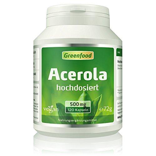 Acerola Konzentrat, 500 mg, hochdosiert, 120 Vegi-Kapseln – ideale Quelle für natürliches Vitamin C – wichtig für Immunsystem, Zellschutz, Knochen und Zähne. OHNE künstliche Zusätze. Ohne Gentechnik. Vegi-Kapsel, vegan.