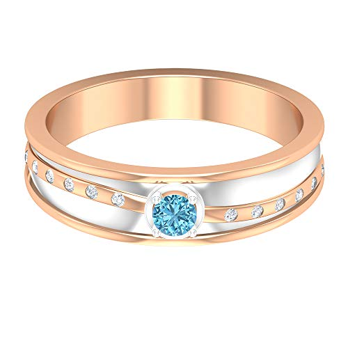 Rosec Jewels 10 quilates oro rosa redonda round-brilliant-shape H-I Diamond Aguamarina creada en laboratorio