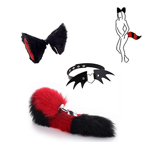 Juego de rol - Tail Fox B-ü-t-t P-l-ǔ-g + Diadema de Orejas + Collar con Forma de Demonio Juguetes de Fiesta de Halloween (Negro)