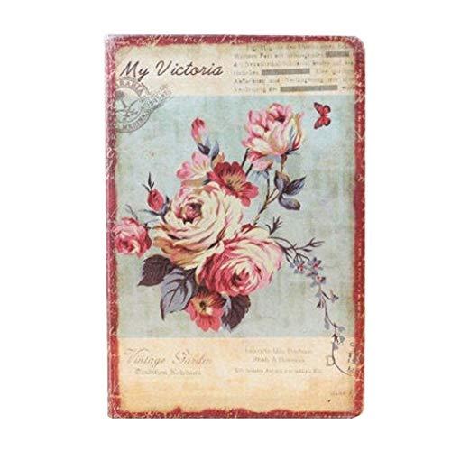 Cuadernos de redacción Cuaderno de Flores Retro Europeo Funda de Tela Cuaderno Personal Diario Personal Cuaderno Vintage Papelería Coreana Útiles Escolares Blocs y Cuadernos de Notas (Color : B)
