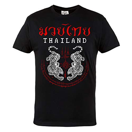 Rule Out Hombre Artes Marciales Camiseta. Muay Thai. Thailand Tigers. Casual Wear (Taille Xlarge)