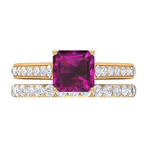 Anillo solitario de 2,1 quilates de rodolita, 1 ct D-VSSI Moissanite Eternity Banda, anillo de boda de oro (7 mm, corte Asscher Rhodolita), 14K Oro amarillo, Size:EU 55