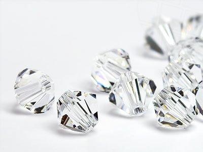 Glasperlen zum Auffädeln von Swarovski Elements Doppelkegel  4mm   (Crystal), 96 Stück