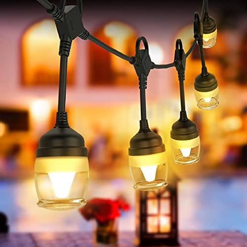 Outdoor String Light 41ft LED String Lights with 8 Lighting Mode, Outside Waterproof Commercial Hanging Light String, 12 Plastic Bulbs Shatterproof String Lights for Patio Porch Backyard ETL Approved